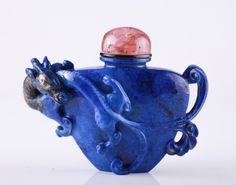 Chinese Lapis Carved Snuff Bottle