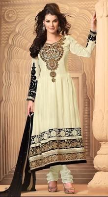 Classic Cream Georgette Long Length Anarkali Dress #SalwarKurta#Buy SalwarKameez#PlusSizeAnarkali