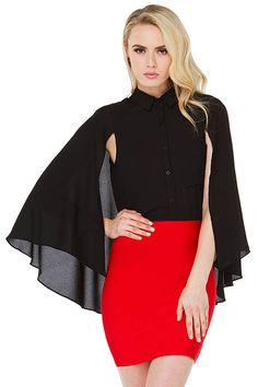 Black Button Up Cape Style Top @ Womens Shirts & Blouses,Women Shirts,Cheap Button Down Shirts,Long Sleeve Shirts,Blouses,Peasant Blouse,Cheap Blouse,Sheer Shirts,Womens Denim Shirts,Fashion Blouse,Sexy Shirt,Collar Shirt,V Neck Blouse,Polo Shirt,Floral Print Shirt,White Blouse