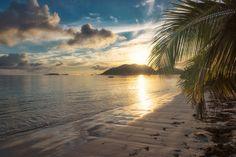 Beautiful sunrise over the tropical beach, Praslin, Seychelles