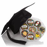 """When you want to send a nice graduation present to your neighbor, nephew, babysitter or paperboy, this cookies and cap gift is a wonderful way to congratulate them on their accomplishment.Celebrate a kindergarden graduation, elementary school graduation, middle school graduation, high school or college graduation.This gift comes with 16 hand dipped and decorated Oreo Cookies that feature an assortment of adorable and crafted Royal Icing graduation designs! Happy Faces with Grad Caps, Owls, """"S..."""