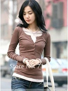 11colors Free shiping The new style wooden five buckle long-sleeved T-shirt long sleeve shirt #C0036