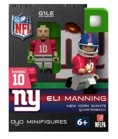 NFL New York Giants Eli Manning Figurine by OYO. $8.99. Comes with football helmet and facemask water bottle football cap rectangular stand and a unique OYO DNA number. Each OYO comes with their own stand which lets you position and pose your OYO for display on any flat surface. Officially licensed building toy figures of your favorite NFL player with rotating arms bending knees and player likeliness. New Officially licensed building toy figures of your favorite...