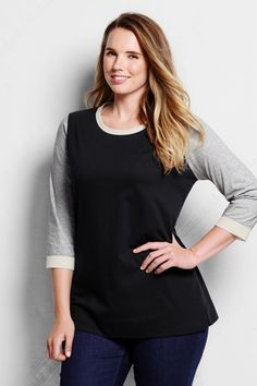 707f704123401 Women s Plus Size 3 4-sleeve Supima Colorblock Tunic Top from Lands  End
