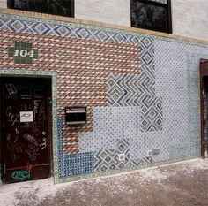 Faile (Brooklyn atists) .. 104 North 7th Project. The duo covered a building with thousands of beautiful handmade tiles.