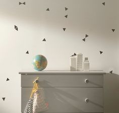 Triangle Wall Stickers by Ferm Living Triangle Wall, Modern Wall Stickers, Wall Decals, Wall Art, Discount Bedroom Furniture, Decoration Design, Of Wallpaper, Kid Spaces, Scandinavian Design