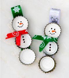 Urobte si snehuliačikov z viečok od fliaš