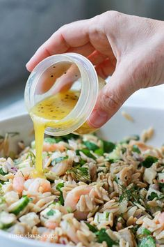 *** made this; yummy ... used whole foods mediterrean salad dressing, added black olives artichokes roasted shrimp orzo salad with lemon vinaigrette