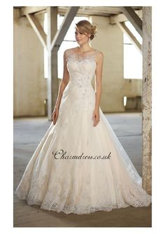Designer Lace A-line Wedding Dress With Crystals