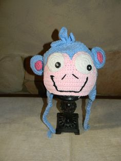 Boots the Monkey from Dora the Explorer by HandpickedHandmade, starting at  $17.99  Handmade crochet hat For Kids to Adult sizes!! Great Halloween Costume Piece or dress up fun for the play box and ideal for cool weather too!
