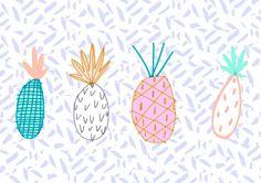 pineapple illustration, pineapple print