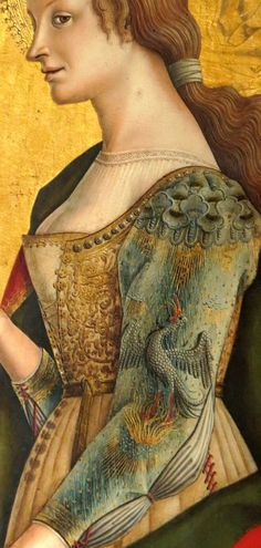 Carlo Crivelli Mary Magdalene (right panel of the Altarpiece) (detail) Renaissance Portraits, Renaissance Clothing, Italian Renaissance, Historical Costume, Historical Clothing, Art Chinois, Medieval Paintings, Art Ancien, Art Japonais