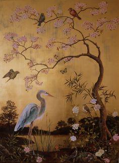 Heron by Lake (SOLD) gilded panel x m Japanese Prints, Japanese Art, Chinoiserie Wallpaper, Wall Art Designs, Heron, Asian Art, Art Inspo, Flower Art, Wall Murals