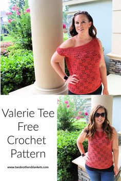 Valerie Tee Free Crochet Pattern - Two Brothers Blankets Crochet Tank Tops, Crochet Summer Tops, Crochet Shirt, Crochet Cardigan, Easy Crochet, Free Crochet, Knit Crochet, Crochet Sweaters, Crochet Vests