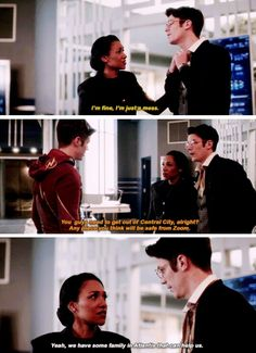 """""""You guys need to get out of Central City, alright? Any place you think will be safe from Zoom"""" - Iris and Barry from Earth-2 and Barry #TheFlash"""