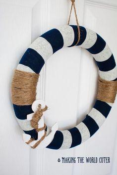 Last Trending Get all images diy nautical home decor Viral diy wreath nautical decor Nautical Wreath, Nautical Home, Nautical Baptism, Anchor Wreath, Nautical Christmas, Nautical Anchor, White Wreath, Diy Wreath, Door Wreaths