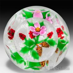 John Deacons and William Manson 2015 collaborative, L.H. Selman exclusive, Christmas cactus glass paperweight. by John Deacons