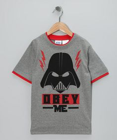 Take a look at this Gray 'Obey Me' Darth Vader Tee - Kids by Star Wars on #zulily today!