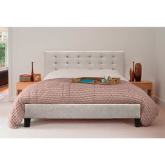 Contemporary Provincial Fabric Bed Frame Beige Buy Bed Frames