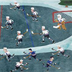 Pond Hockey - The Edmonton Oilers Hockey team playing a game of pond hockey.    #edmontonoilers #pondhockey #hockeyart #hockeyplayer