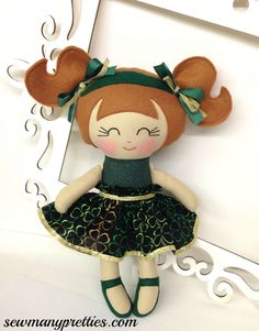 St Patrick's Day Handmade Dolls St Patty's Dolls by SewManyPretties, $45.00
