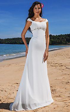 Sheath/Column Scoop Sweep/Brush Train Chiffon Wedding Dress  – USD $ 179.99