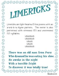 Poetry Poster -- Limericks  #ELA #poetry #limericks #BarbEvans #itsabouttimeteachers