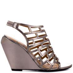 KELSI DAGGER GREY METALLIC NAPPA open toe wedge sandals SHOE size 8 NIB