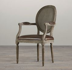 Vintage French Cane Back Round Leather Armchair | Leather Arm & Side Chairs | Restoration Hardware
