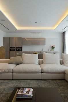 Want to create a cozy and stylish ambiance in your house? Go for indirect lighting and watch the magic. We have eleven great indirect lighting ideas for you House Ceiling Design, Ceiling Design Living Room, Ceiling Light Design, Home Ceiling, Living Room Designs, House Design, Design Design, Modern Ceiling Design, Modern Lighting Design