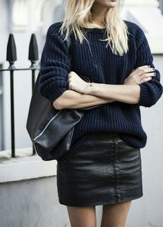 sweater + leather miniskirt http://rstyle.me/n/q4j7n4ni6