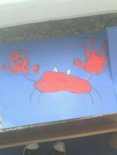 Bazooka Crafts: Kindergarten Crafts ~ Hand- and Footprint Crabs