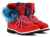 Mr & Mrs Italy Fur-trimmed suede ankle boots