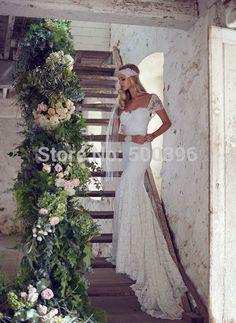 Sirena del vestido de boda blanco del cordón Cap mangas vestido de boda nupcial 2016 vestidos de novia Sexy vestido de boda Backless                                                                                                                                                                                 Más
