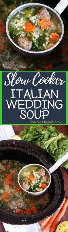 Slow Cooker Italian Wedding Soup – Authentic traditional Italian wedding soup. A family favorite recipe is easy to make in the crock pot, delicious homemade meal.