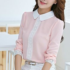 Peter Pan Collar Chiffon Blouse Decoration: Lace Clothing Length: Regular Sleeve Style: Regular Pattern Type: Solid Style: Casual Fabric Type: Chiffon Material: Polyester, Spandex, Chiffon Fit: Fits t