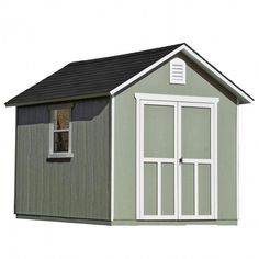 Handy Home Products Installed Meridian 8 ft. x 10 ft. Wood Storage Shed with Driftwood Shingles, Multi Storage Shed Kits, Wood Storage Sheds, Built In Storage, Firewood Storage, Diy Storage, Storage Sheds For Sale, Small Storage, Storage Ideas, Shed Plans 8x10