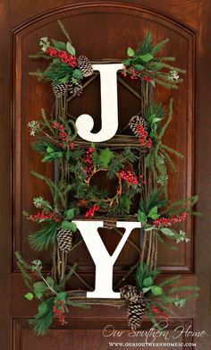 Orvis Inspired JOY Wall Hanging. It can be used as a wreath. via Our Southern Home