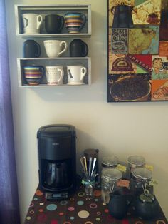Coffee Station for my kitchen with mug shelf.