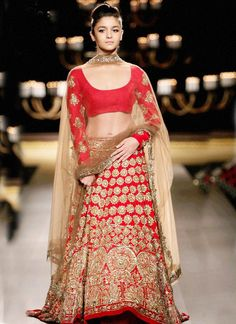 Red With Embroidery Golden Jari Work  Bridal Georgette Lehenga