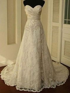 A-line Sweetheart Sweep Train Lace Wedding Dress at Msdressy