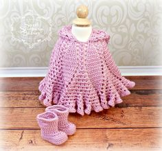 Baby Girl's Petal Poncho and Galoshes- Newborn to 9 Months - Easter, Baptism, Photo Prop by SweetSouthernBabies on Etsy