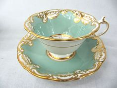 PARAGON ROSE BOUQUET CUP AND SAUCER - HEAVY EMBOSSING AND GILT - A2266/16 #Paragon