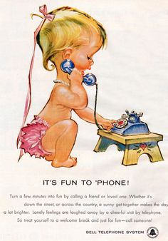 1958, Bell Telephone System Baby Art by Pete Hawley