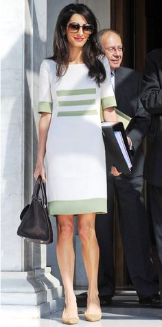 Amal Clooney wearing Camillo Bona dress on Oct. 14, 2014, at Ministry of Culture and Sports in Athens.