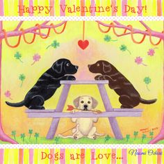 Happy Valentine's Day!  Cute and Whimsical Labrador Retriever Art by Naomi Ochiai  http://www.happylabradors.com