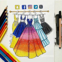 I'm really fan of those social media drawings I can't choose which dress I would bought if possible, they're all so beautiful and goals!  Which one would you choose? (Made by: @willmatos)