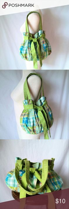 "ANCHORBLUE Patchwork Hobo Bag Spring Green & Blue Plaid Patchwork Hobo Shoulder Bag Purse by anchorblue. 2 interior pockets. There is some spot stains in the interior bottom lining, but they do not show through. See in photo. In good used condition. From a smoke free home. Make an offer! SAVE on SHIPPING & get a DISCOUNT by making a BUNDLE! Get 20% off on 2+ items. 2for1 SCARF SALE: Buy one ""2for1"" scarf at full price and get another scarf of equal or lesser value for free! anchorblue Bags…"