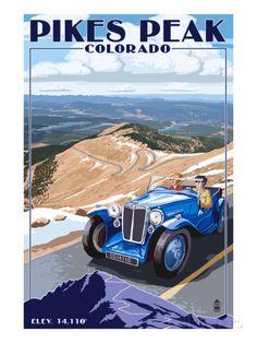 Pikes Peak, Colorado - Auto Road Scene Prints by Lantern Press at AllPosters.com