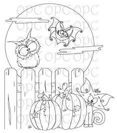 Digital Stamp Halloween Friends by OakPondCreations on Etsy, $3.00